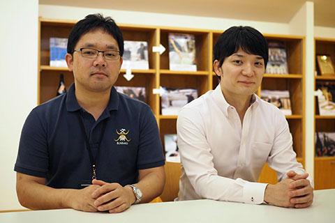 代表取締役社長 北西隆一郎さん(右)、杜氏の村上大介さん(左)