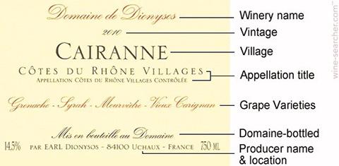 AOCに基づくワインのラベル。産地やブドウ品種、等級に応じた呼称等が記載される(画像出典:Wine Searcher)