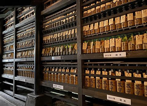 壮観な「蔵守」のセラー。瓶以外に、甕に貯蔵した日本酒もある