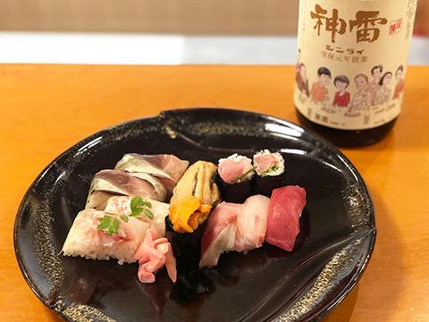 箱寿司(鯛、鯖)、雲丹、穴子、鰤、鯛、本鮪、巻き寿司(鰤)